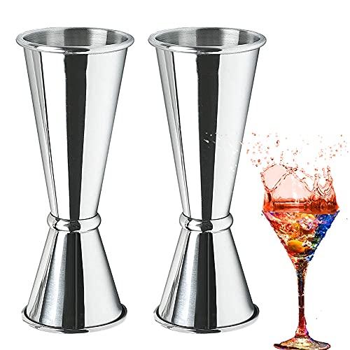 Misurino per Cocktail Nesloonp Misuratore di vino in vetro a doppia oncia in acciaio inossidabile 30 / 60ml,Dosatore Cocktail per Attrezzatura Bar(Argento)