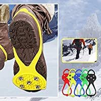 Universal Non-Slip Gripper Spikes Over Shoe Durable Cleats Anti-Slip Over Shoe Durable Cleats with Good Elasticity Easy to Pull On or Take Off for Jogging,Climbing,Mountaineering, Hiking (5 pairs)