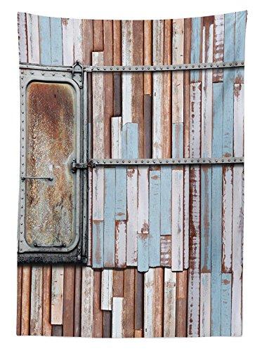 Yeuss - Mantel de Madera con Dise?o r¨²stico y Cuadros oxidados Colores envejecidos,Dise?o Marino,para Comedor,Cocina,Mesa Rectangular,Color Azul,Marr¨®n,Blanco,132 x 178 cm,52\ 70\(132 cm)