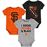 MLB Newborn Infants'Big Time Fan' 3 Piece Bodysuit Creeper Set (24 Months, San Francisco Giants)