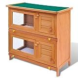 Tidyard Outdoor Rabbit Hutch Small Animal House Pet Cage 4 Doors Wood 90