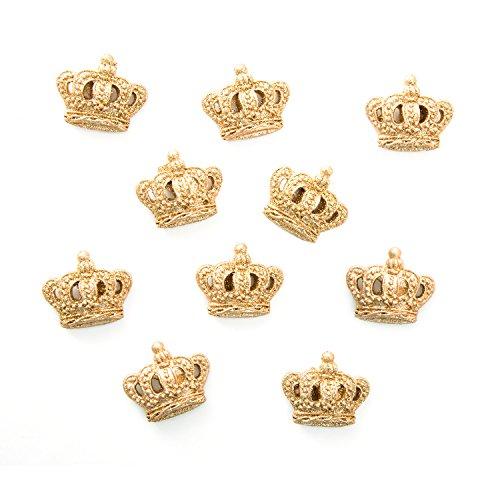 Logbuch-Verlag 10 kleine goldene Kronen Tischdeko Streudeko Mini Teile 2,5 cm inkl. Klebepunkt Geschenk verzieren basteln Scrapbooking Mädchen Kinder