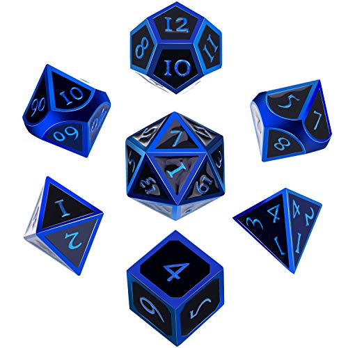 Hestya 7 Pieces Metal Dices Set DND Game Polyhedral Solid Metal D&D Dice Set with Storage Bag and Zinc Alloy with Enamel for Role Playing Game Dungeons and Dragons, Math Teaching (Blue Edge Black)
