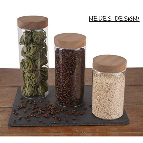 COMFY Vorratsdosenset aus Glas | Akazienholzdeckel | Borosilikatglas mit Schraubverschluss | luftdicht verschließen | Lebensmittelaufbewahrung | OHNE Plastik |1300ml/1600ml/2000ml
