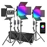Neewer 3 Packs luz LED RGB 660 con Control App Kit Iluminación Video y Fotografía con Soportes y Bolsa 660 SMD LED CRI95 / 3200K-5600K / Brillo 0-100% / 0-360 Colores Ajustables