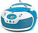 Tyler Portable Neon Blue Stereo CD Player with AM/FM Radio and Aux & Headphone Jack Line-in...