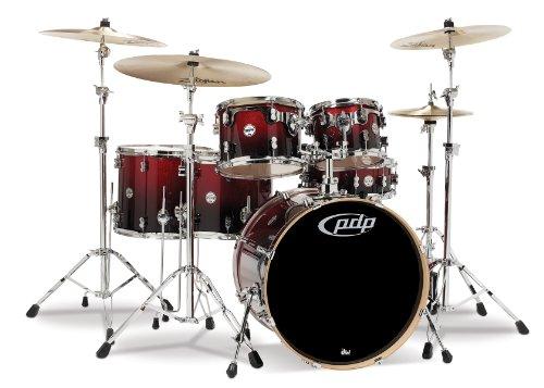 Pacific Drums PDCM2216RB Schlagzeugset mit Chrom-Hardware, Rot auf Schwarz, 6-teilig