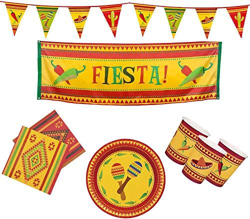 Boland 10203216B – Juego de Fiesta para Fiestas, banderines, Platos, Vasos, servilletas,...