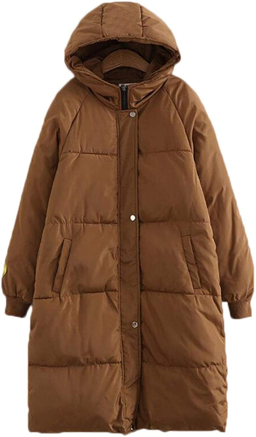 Ladies Autumn and Winter Cotton Loose Large Size Down Jacket Hooded Jacket (color   Brown, Size   XL)