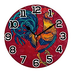Red Background Big Rooster Round Wall Clock Non Ticking Silent 10 Inch Desk Clock Battery Decorate for Living Room Kitchen Bedroom Office School