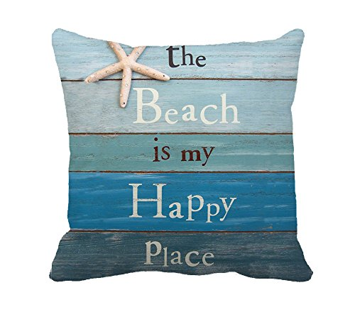 """The Beach Is My Happy Place Throw Pillow Case Cushion Cover Decorative 18"""" x 18""""(Starfish and Rhinestone)"""