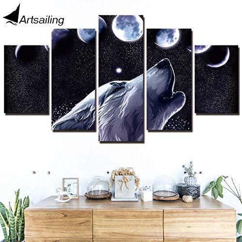 YIMENGSX 5 Panel Leinwand Kunstdruck HD Wolverine in The Moon Print Gemälde für Wohnzimmer Poster 2018 NY-7652C, mit gerahmt, Größe 3