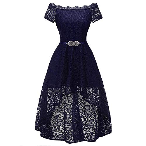 Women's Vintage Off Shoulder Cocktail Hi-Lo Floral Lace Bridesmaid Formal Swing Dress with Beaded Belt Navy Blue