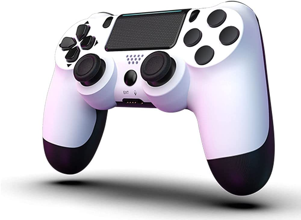 PS4 Controller MOVONE Wireless Controller with USB Cable for Playstation 4 (White+Black)