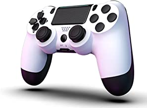 MOVONE Wireless Controller Dual Vibration Game Joystick Controller for PS4/ Slim/Pro,Compatible with PS4 Console (White+Bl...