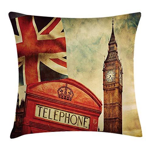 Butlerame London Throw Pillow Cover, símbolos de Estilo Vintage de Londres con la Bandera Nacional del Reino Unido Gran Bretaña Antigua Torre del Reloj, 45 x 45 cm, Multicolor