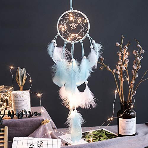 Smoro Feder traumfänger Mobile led lichterketten batteriebetriebene hängende Ornamente blau tauchte Glitter Federn böhmischen Hochzeit Dekorationen, Boho chic, kinderzimmer dekor