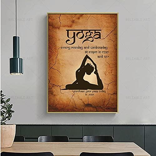 vbewuvbiewv Inicio Ejercicio Gimnasio Yoga Tabla Pose Salud Póster Arte de la Pared Pintura de la Lona Impresión de Yoga Sala de Estar Decoración de la Pared del hogar