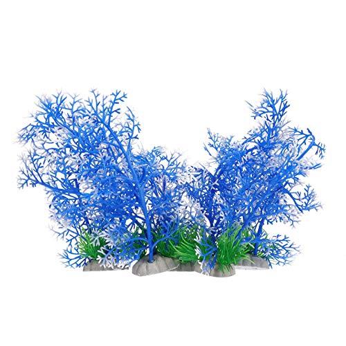 ALIANG 5 Stück Künstliche Aquarium Pflanzen Simulierte Aquarienpflanze Kunststoff Seegras Modell für Fischversteck Aquarium Dekoration rnament Blau Weiß