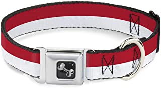 Buckle-Down Seatbelt Buckle Dog Collar - North Carolina Flag Stripe Red/White