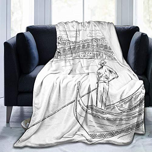 Manta mullida, puente Rialto con góndola, romántica inspiración italiana, paisaje urbano bosquejado, ultra suave, manta para dormitorio, cama, TV, manta para cama de 80 x 60 pulgadas