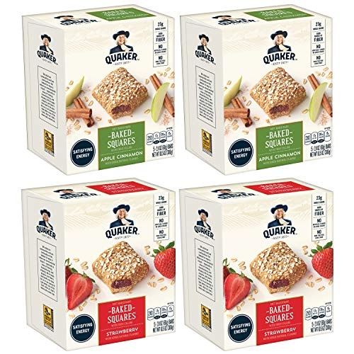 Quaker Breakfast Squares, Variety Pack, Apple Cinnamon & Strawberry, Pack of 4 Boxes, 5 Bars Per Box