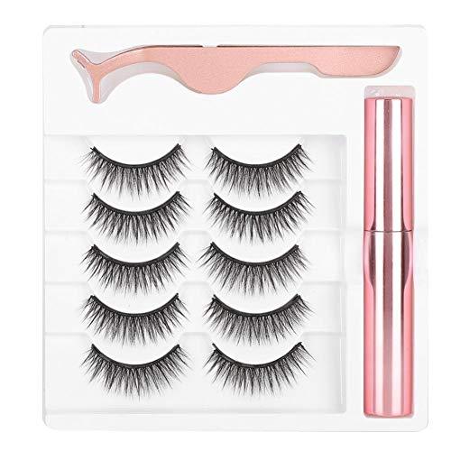 Magnetic Eyeliner and Lashes Kit, Magnetic Eyeliner for Magnetic Lashes, 5 Pairs 3D No Glue Needed False Eyelashes & Tweezers (#051)