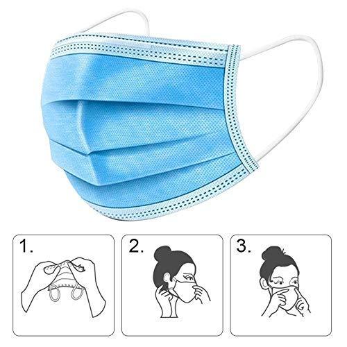 100 Stücke Weich Disposable Mundschutz Maske 3-Lagig Masken Staubdicht Einwegesschutzmasken Atemmasken mit Ohrringe, Blau 100PCS - 4