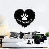 HGFDHG Calcomanía de Pared para Mascotas, Animal, Amor, corazón, símbolo, Estampado de Pata, Vinilo, Pegatina para Ventana, Mural, Tienda de Mascotas, decoración de la casa