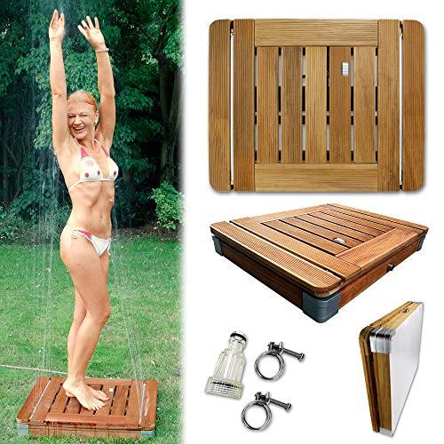 @tec Bodendusche Mobile Outdoor Gartendusche Camping-Dusche aus massivem Teak-Holz - Pool-Dusche, Sauna-Dusche, Aussendusche mit Bodenplatte, Jump-On-Shower - Tritt-Mechanismus 70cm x 55cm x 11cm