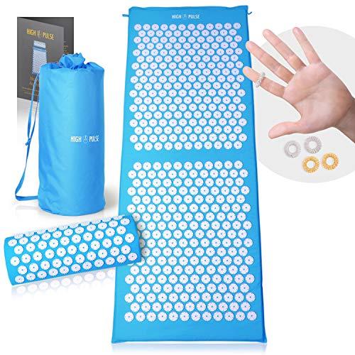 High Pulse XXL Akupressur Set + 5 Ringe + Poster – Extra lange Akupressurmatte & Kissen stimuliert die Blutzirkulation und löst Verspannungen (Blau)