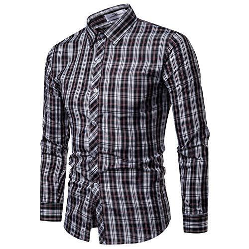 Camisas de Manga Larga a Cuadros para Hombres, Solapa de Moda con Estampado clásico a Cuadros, Camiseta cómoda de Todo fósforo, Ajuste Regular Informal XXL