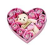 sbay Caja de 10 rosas de jabón con forma de corazón para regalo de aniversario