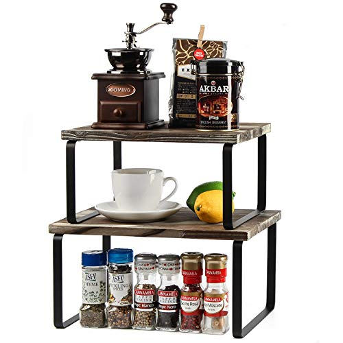 2-Tier Counter Storage Shelf, Stackable Cabinet Shelf Organizers for Kitchen Bathroom Office Living Room, Rustic Wood and Metal