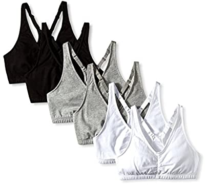 Fruit of the Loom Women's Shirred Front Sports Bra, Heather Grey/White/Black Hue, 34 (Pack of 6)