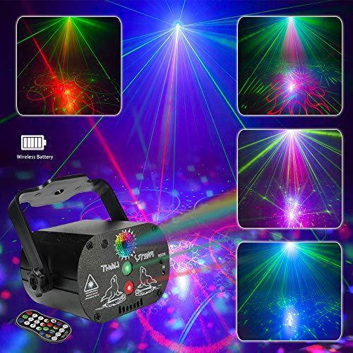 Shine Party Light Stage Laser Lights with Built-in Battery Mini Flash Strobe Light RGB LED DJ Disco Lights Projector by Sound Activated Remote Control for Stage Lighting Birthday Parties