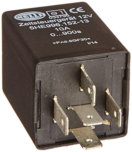 HELLA 996152131 12V Delay-On-Release, Time Delay Relay, Black