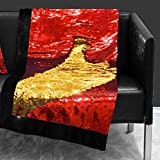 Idea Nuova Reversible Sequin Sparkle Red to Gold Throw,50'x60', red and Gold