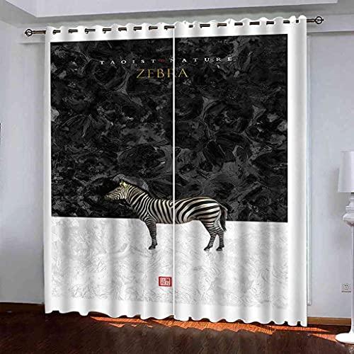 GXLOGA Cortinas Opacas Suaves con Ojales Patrón de Cebra Animal Térmicas Aislantes Resistente Rayos UV 2 Piezas Proteger Su Privacidad para salón Dormitorio y Balcón 264x160 cm(ANxAL)
