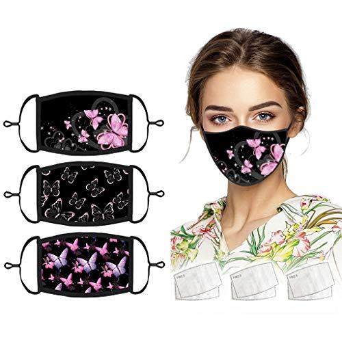 Mundschutz aus Baumwolle - Schmetterlingsdruck - Unisex Face Gesichtsschutz Wiederverwendbarer Waschbar Gesicht- und Atmung Schutz gegen Staub,Pollen,Abgase,Luftverschmutzung (A:3xCover + 6xFilter)