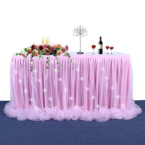 HBBMAGIC Falda de Mesa LED 6 pies de Tul Rosa Falda de Mesa Mesa de tutú Falda para rectángulo o Mesa Redonda para Baby Shower Boda y Fiesta de cumpleaños