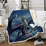 BONRI Dragon Blanket Sherpa Throw Blanket para Cama Mantas con Estampado de dragón 3D para niños y Adultos, Suave y esponjosa Manta de Forro Polar (Style1,) - Style1-50 × 40'