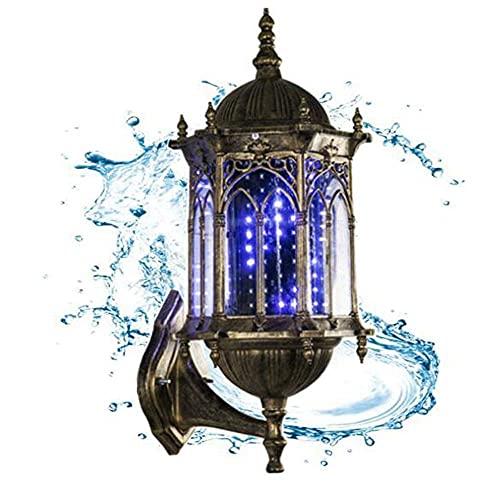 JUNWEN Lámpara de Poste de Peluquero Impermeable Giratorio Azul Tiras LED de Giro girando peluquería salón luz de luz lámpara Pared Europea Retro al Aire Libre lámpara de Pared, Bronce