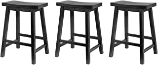 Winsome Wood 24-Inch Saddle Seat Counter Stool, Black (Pack of 3)