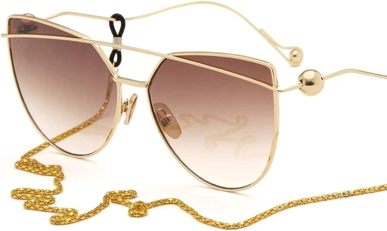 Anas Cat Eye Flat Street Fashion Metal Frame Women Sunglasses