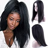 Odir Brazilian 4x4 Lace Front Human Hair Wigs 12 inch Kinky Straight 150% Density 8A Yaki Human Hair Weave Bundles Wig 100% Unprocessed Vigin Hair Lace Closure Wig For Black Women Natural Color