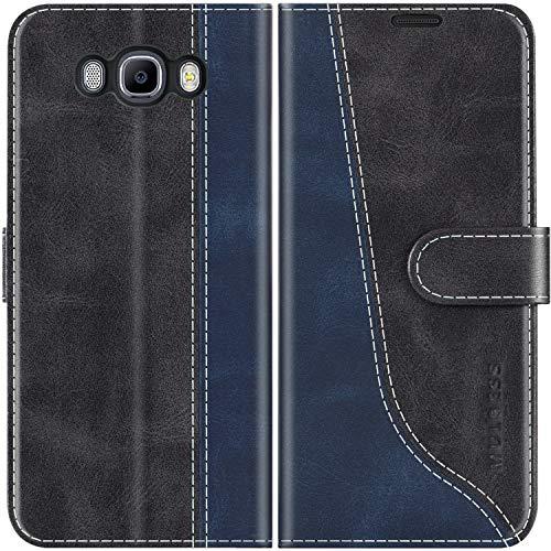 Mulbess Custodia per Samsung J7 2016, Cover Samsung J7 2016 Libro, Custodia Samsung Galaxy J7 2016 Pelle, Flip Cover per Samsung Galaxy J7 Duos 2016 Portafoglio, Nero