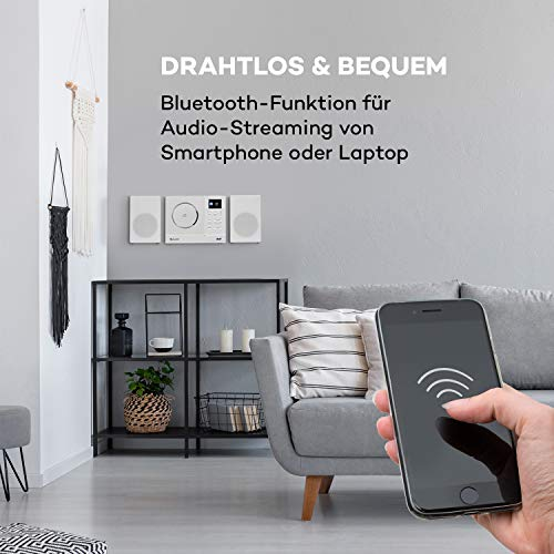 auna Connect Vertical - Internetradio, 2 x Lautsprecher (2 x 10 Watt), MP3-fähiger CD-Player, Internet/UKW/DAB+ Radiotuner, Spotify-Connect, Bluetooth-Funktion, HCC Display: 2,4