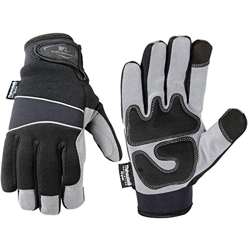 Wells Lamont 7745Xl Cold Weather Gloves Synthetic Leather Palm Spandex Back Neoprene Wrist G60 Thinsulate, Extra Large, Grey/Silver