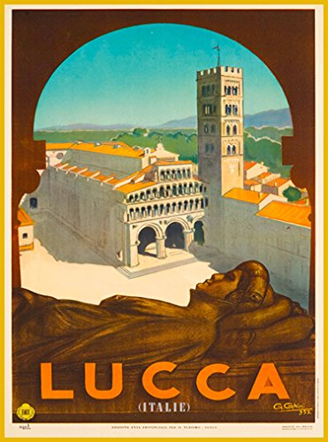 A SLICE IN TIME Lucca Tuscany Italy Italie European Europe Vintage Travel Home Collectible Wall Decor Advertisement Art Poster Print. 10 x 13.5 inches.